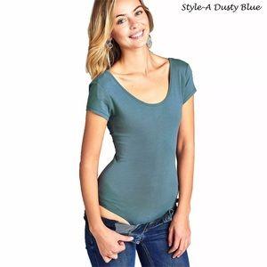 Tops - Solid short sleeve scoop neck bodysuit